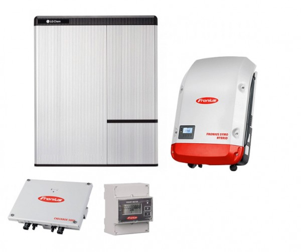 6,49 kW REC Photovoltaik Komplettanlage, Fronius Symo Hybrid +LG Chem 7H-Sonderwunschgestell
