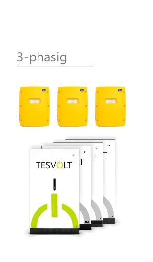 3x SMA Sunny Island SI 3.0M-11 und Tesvolt Li 10 Leistung 9 kWh nutzbar (bei 90%) inkl Notstrombox E