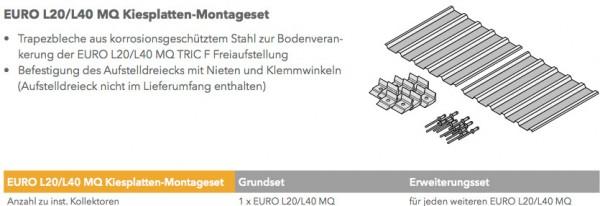 EURO L20/L40 MQ Kiesplatten-Montageset für 4 Kollektoren hochkant (stabiler mit 13,5qm)