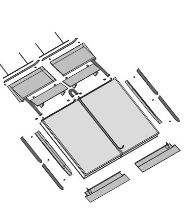 EURO Indachmontage für Pfannendächer für 4 Wagner EURO Kollektoren (1 Grundset und 2x Erweiterungsse