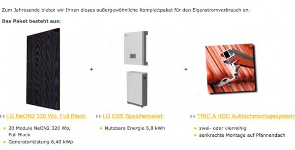 6,4 kW LG Photovoltaikanlage mit LG Speicher nutzbar 5,8 kWh